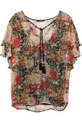 Love Sam Casella Floral Print Metallic Georgette Blouse Brass