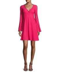 Nanette Lepore Long Sleeve Mesh Fit And Flare Dress Pink