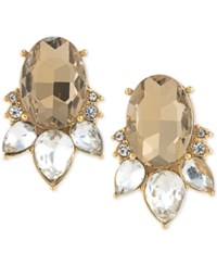 Carolee Gold Tone Clear And Brown Crystal Clip On Stud Earrings