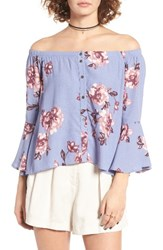 Astr Women's Amelia Off The Shoulder Top Periwinkle Floral