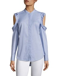 Bcbgmaxazria Nishani Cold Shoulder Striped Shirt Light French Blue