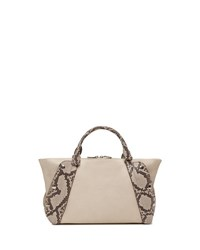 Akris Aimee Small Bicolor Leather And Python Satchel Bag Beige