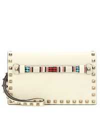Valentino Embellished Leather Clutch Bag Multicoloured