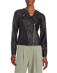 Lord And Taylor Leatherette Moto Jacket Black