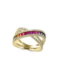 Effy Watercolor 0.58 Tcw Diamonds Sapphire And 14K Yellow Gold Ring