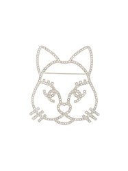 Chanel Vintage Crystal Cat Brooch Metallic