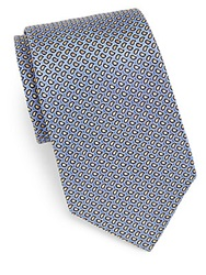 Saks Fifth Avenue Black Neat Teardrop Silk Tie Blue