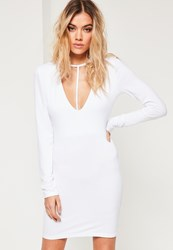 Missguided White T Harness Front Long Sleeve Bodycon Dress