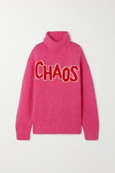 House Of Holland Chaos Oversized Intarsia Knitted Turtleneck Sweater Pink