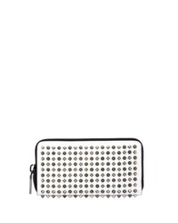 Christian Louboutin Panettone Studded Wallet White Metallic