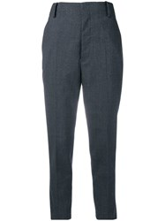 Semicouture Cropped Tailored Trousers Blue