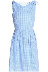 Raoul Knotted Pleated Gingham Cotton Poplin Dress Azure