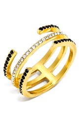 Women's Baublebar 'Open Ended' Pave Crystal Ring Black Gold