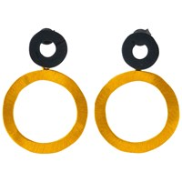 Be Jewelled Gold Plated Oxydised Sterling Silver Circle Drop Earrings Gold Black
