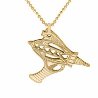 Cartergore Gold Ray Gun Pendant Necklace