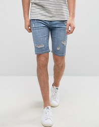 Good For Nothing Super Skinny Denim Shorts In Blue With Distressing Blue