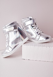 Missguided High Top Wedge Trainers Holographic Silver Grey