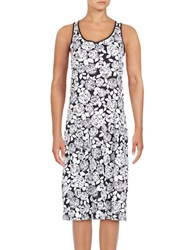 Lord And Taylor Floral Print Sleeveless A Line Dress White