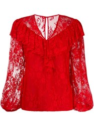 Three Floor Lace Pattern Blouse Red
