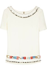 Tory Burch Jace Embellished Silk Georgette Top Ivory