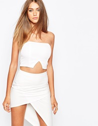 Missguided V Insert Bustier Top White