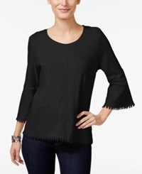 Styleandco. Style Co. Crochet Trim Bell Sleeve Top Only At Macy's Deep Black