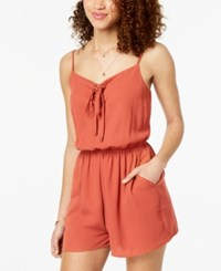 One Clothing Juniors' Lace Up Romper Mud