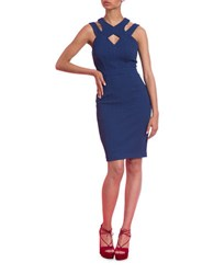 Tracy Reese Harness Strapped Sheath Dress Navy