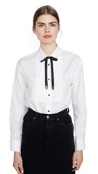 Coach 1941 Poplin Pleated Bib Shirt White