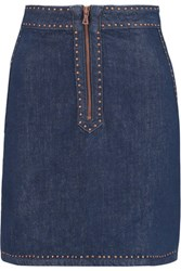 Sandro Jones Studded Denim Mini Skirt Mid Denim
