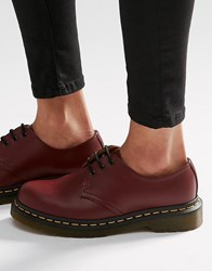 Dr. Martens Dr 1461 3 Eye Gibson Flat Shoes Cherry Red Smooth