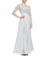 Kay Unger Lace Pleated Gown Light Blue