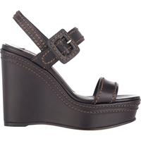 Prada Double Band Platform Wedge Sandals Black