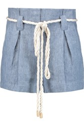 L'agence Edie Pleated Linen Shorts Light Blue