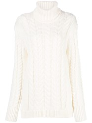 Tibi Rollneck Cable Knit Sweater White