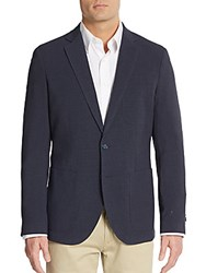 Saks Fifth Avenue Slim Fit Checkered Sportcoat Navy