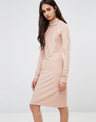 Redream Re Dream Twist Knit Dress With Gathered Side Pale Pink