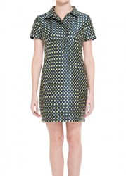 Leon Max Diamond Jacquard Cap Sleeved Shirt Dress