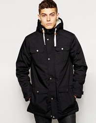 Solid Solid Parka With Borg Lined Hood Black