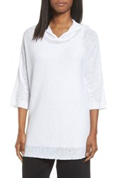 Eileen Fisher Women's Organic Linen And Cotton Hooded Sweater White