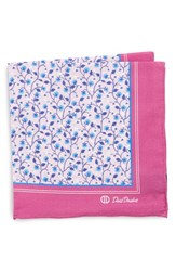 David Donahue Floral Cotton Pocket Square Berry