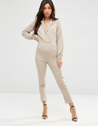 Asos Long Sleeve Jumpsuit With Collar And Wrap Front Neutral Beige