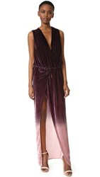Young Fabulous And Broke Juliete Velvet Dress Burgundy Ombre