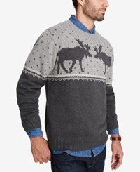 Weatherproof Vintage Men's Moose Sweater Dark Gray