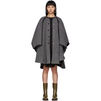 See By Chloe Black And White Hooded Poncho Coat