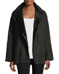 Eileen Fisher Sleek Shearling Leather Bomber Jacket Black