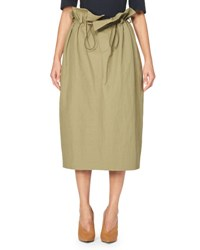 Stella Mccartney Drawstring Paperbag Midi Skirt Olive