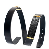 Corius Paris Black Crocodile Moka Strap Belt Yokesshiny Gold Black Box Calfskin 80