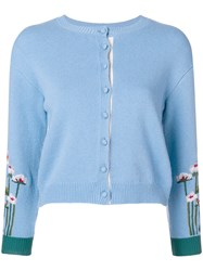 Red Valentino Embroidered Floral Cardigan Blue