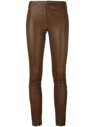 Tony Cohen Skinny Leather Pants Brown